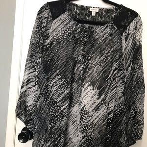 Avenue women's sheer black & white blouse